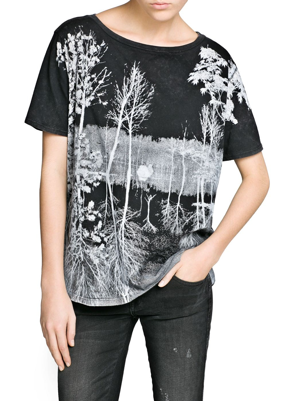 Faded forest cotton t-shirt | MANGO