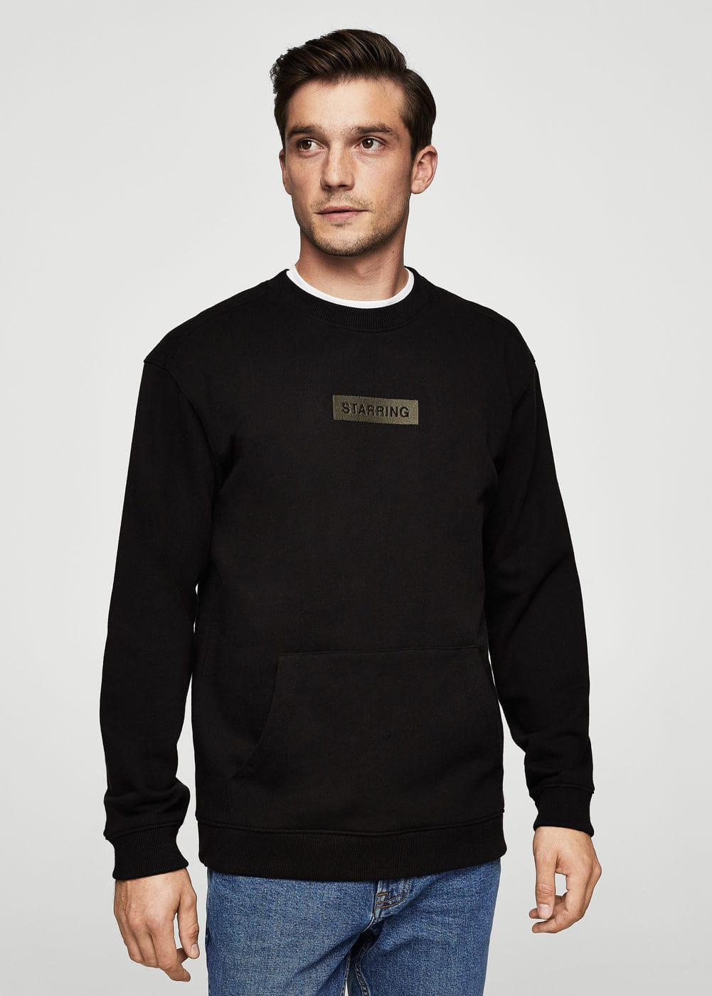 Embroidered cotton sweatshirt | MANGO MAN