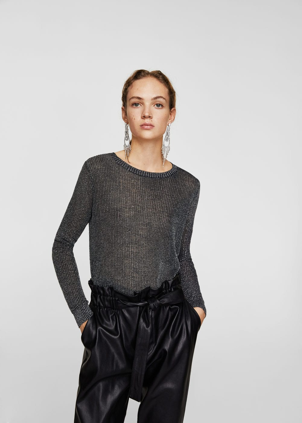 Metallic thread textured sweater | MANGO