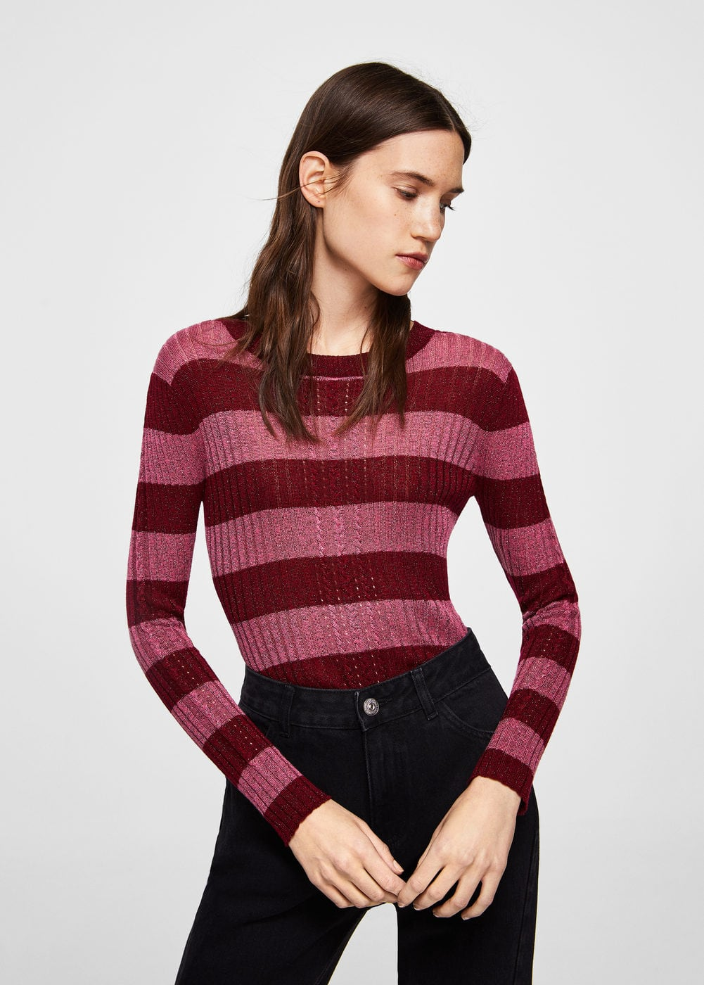 Metallic striped sweater | MANGO