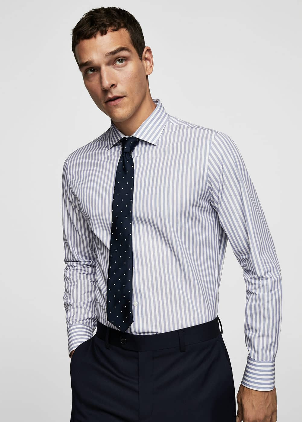 Gestreept Tailored Slim Fit Overhemd by Mango