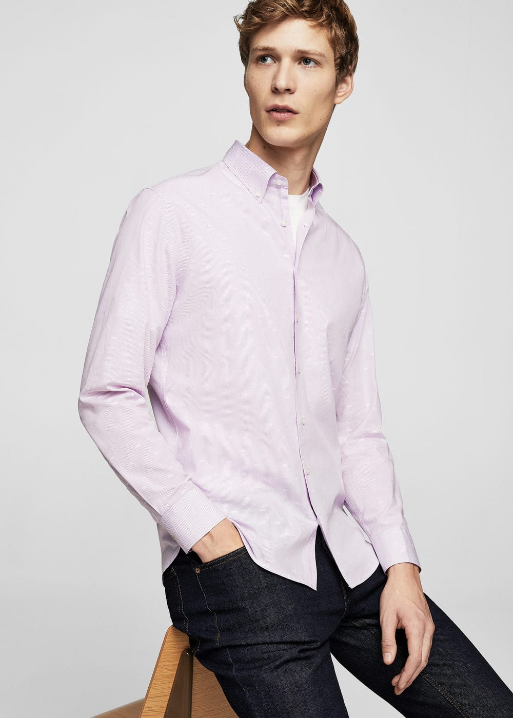 Camisa slim-fit rayas bordados | MANGO MAN