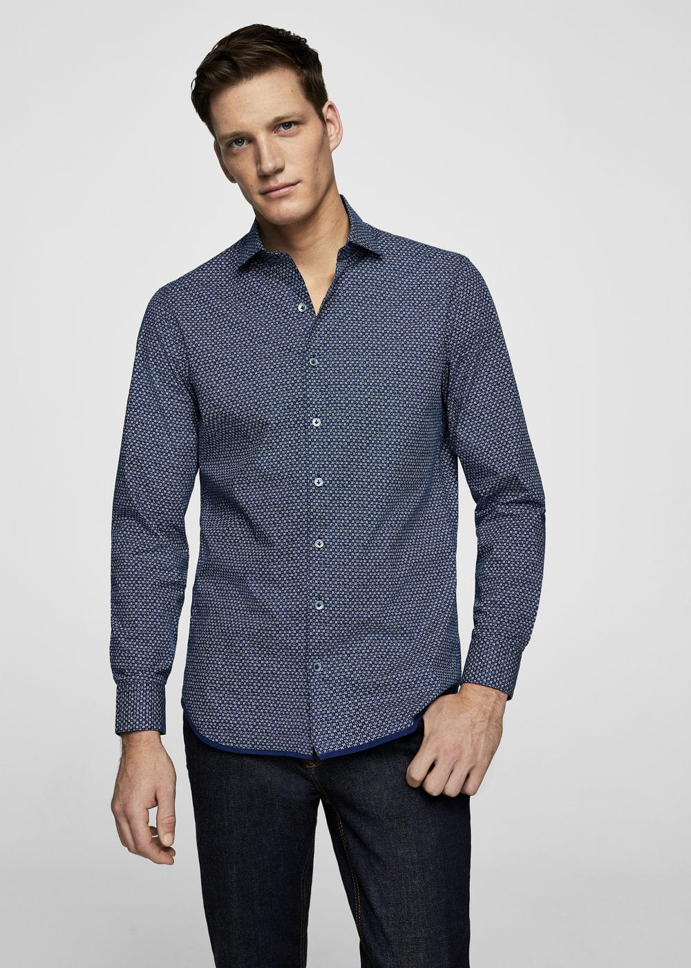 Slim-fit floral print shirt | MANGO MAN
