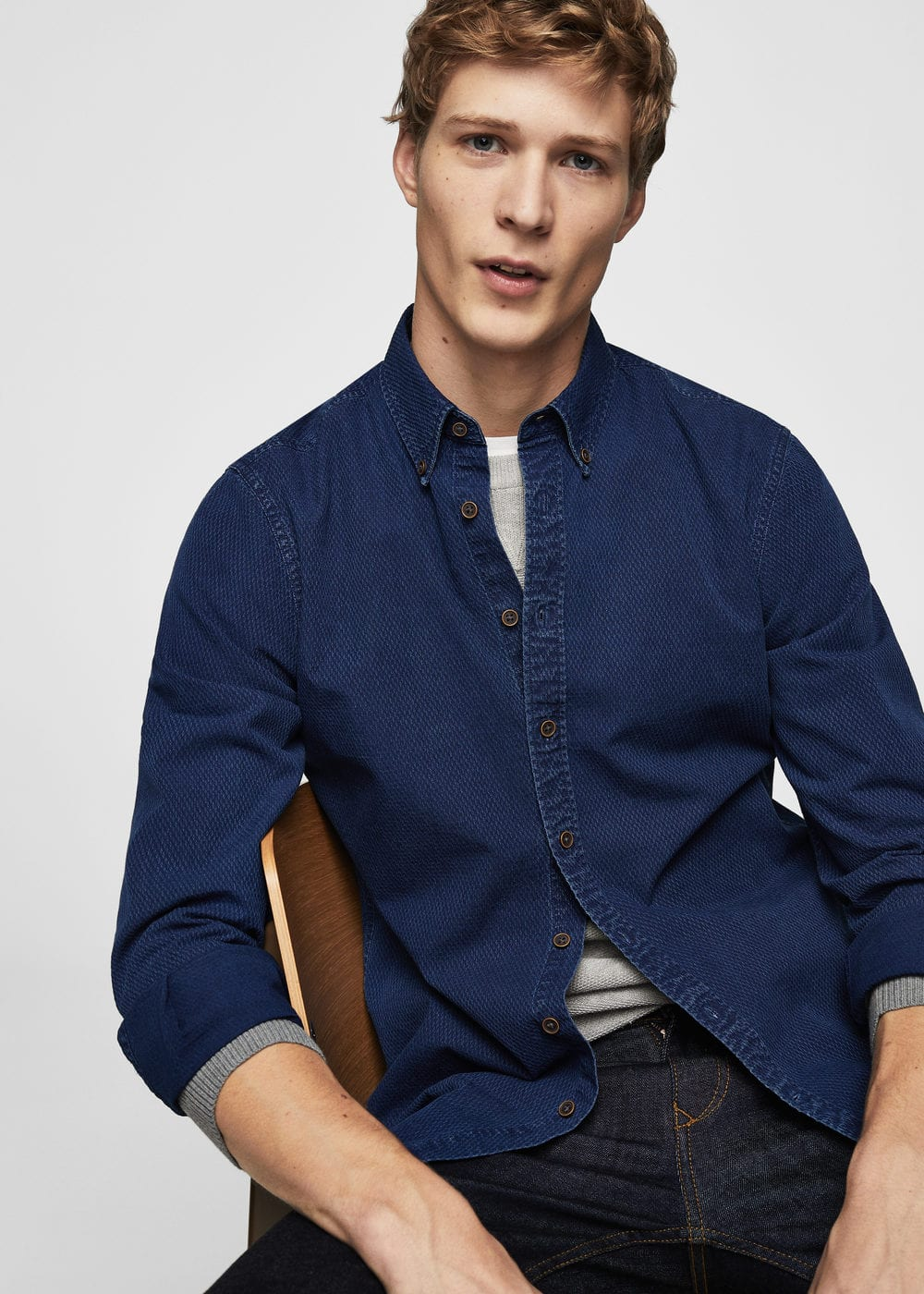 Camicia slim-fit chambray texture | MANGO MAN
