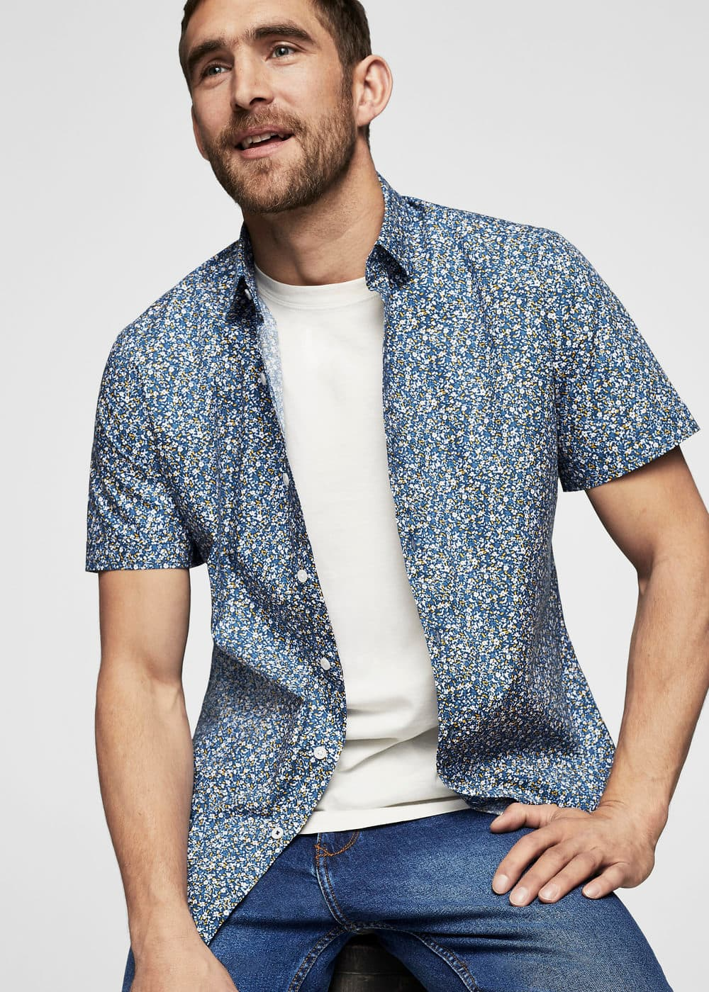 Slim-fit flower print shirt | MANGO