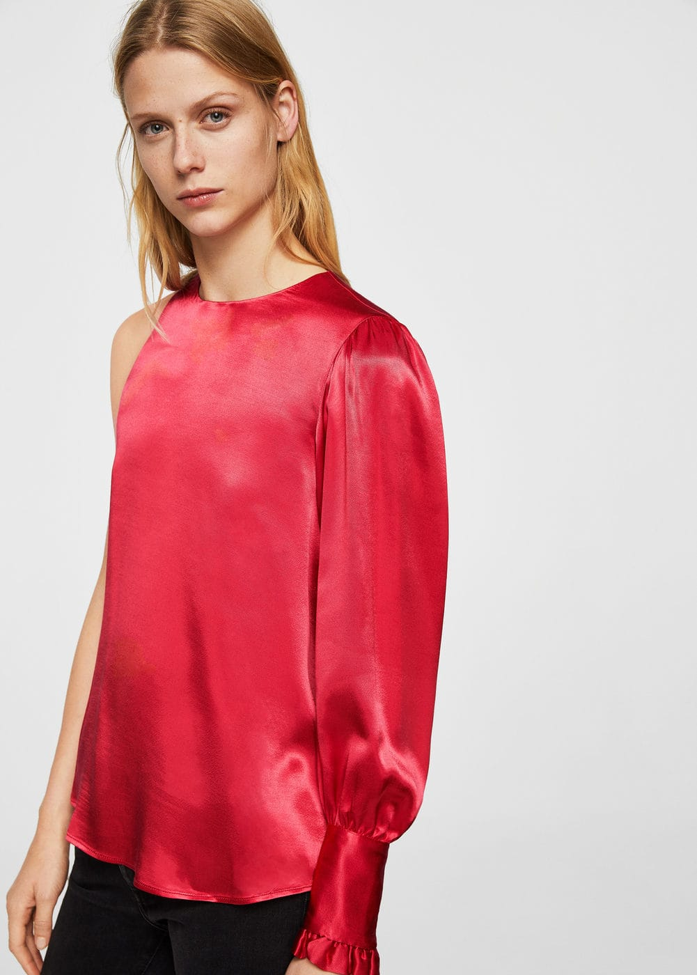 Asymmetric satin blouse | MANGO