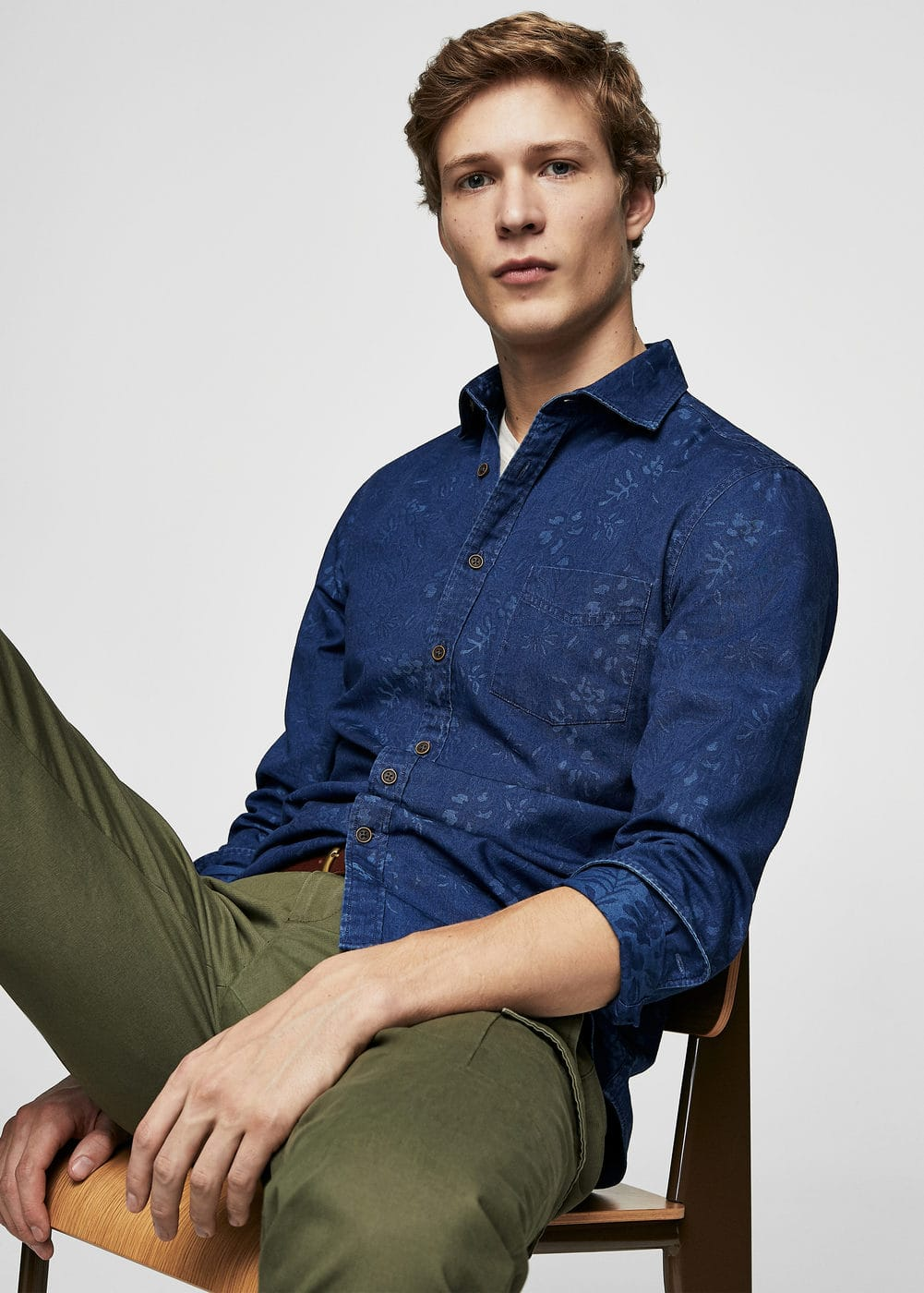 Slim-fit printed denim shirt | MANGO MAN
