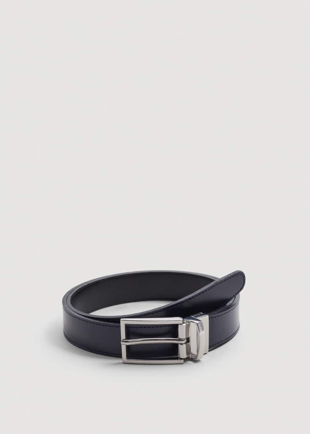 Reversible tailored leather belt | MANGO MAN