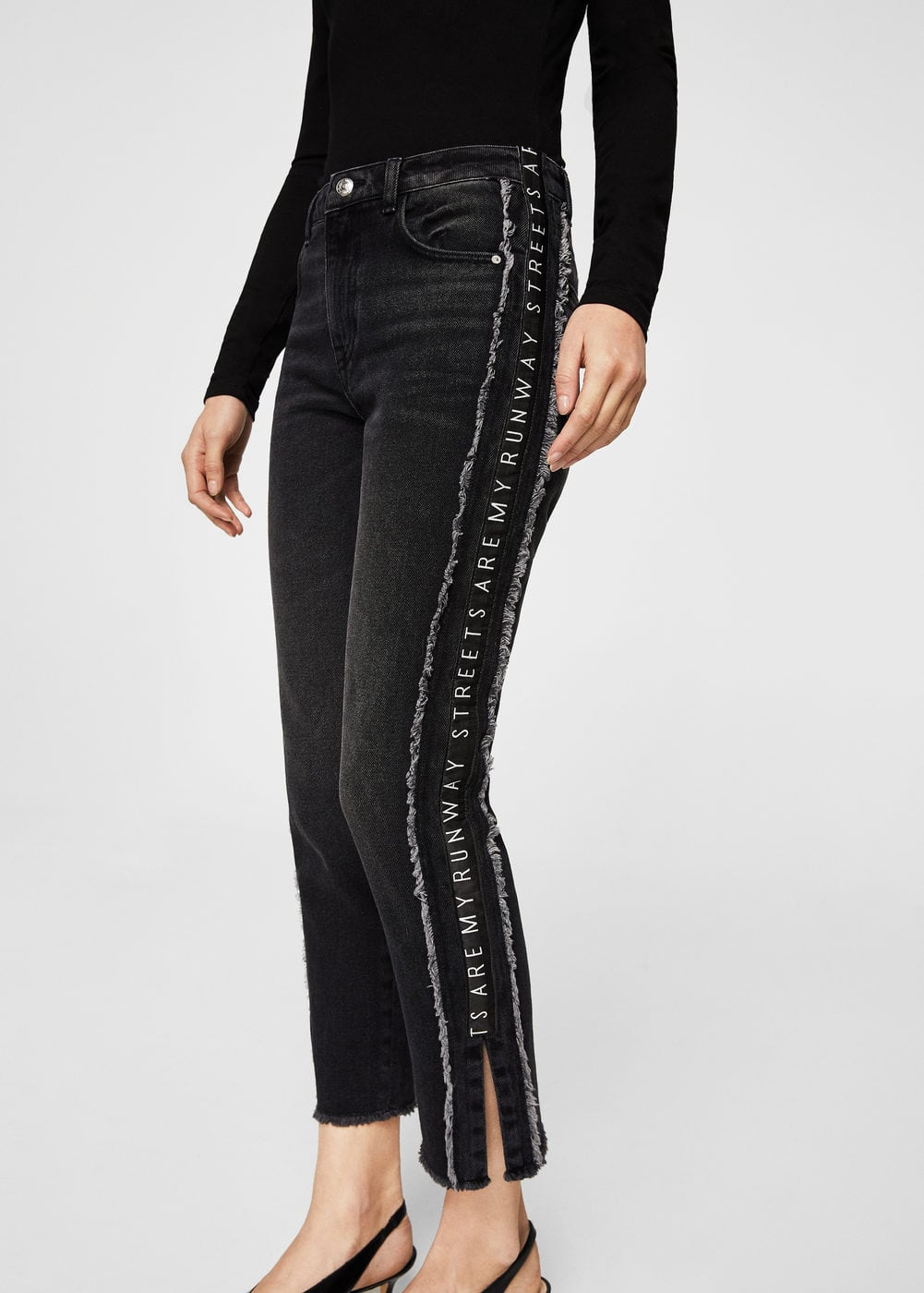 Text panels skinny jeans | MANGO