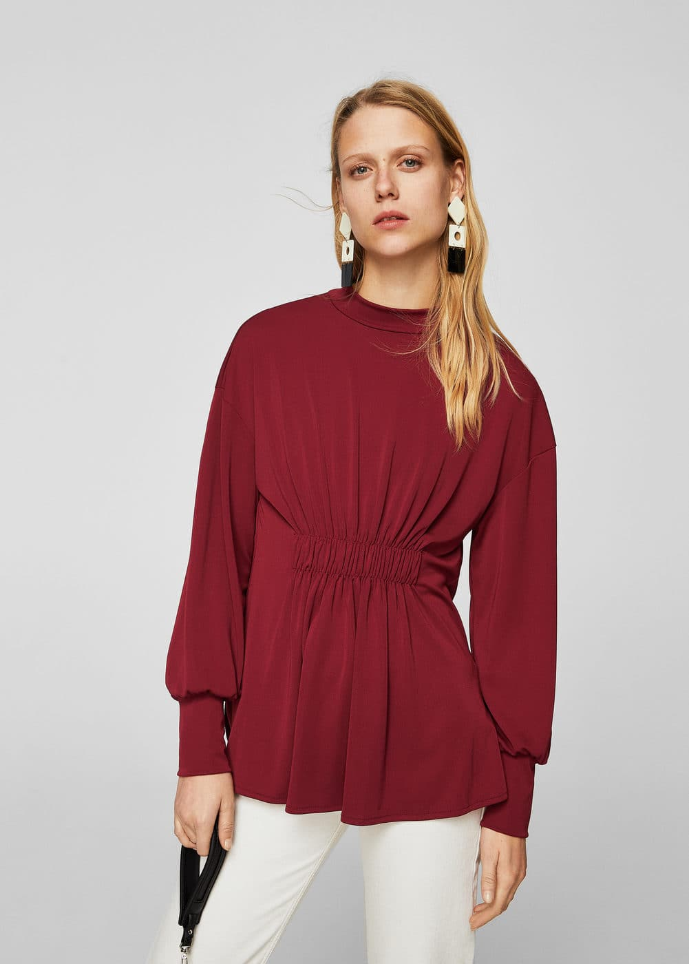Draped detail t-shirt | MANGO