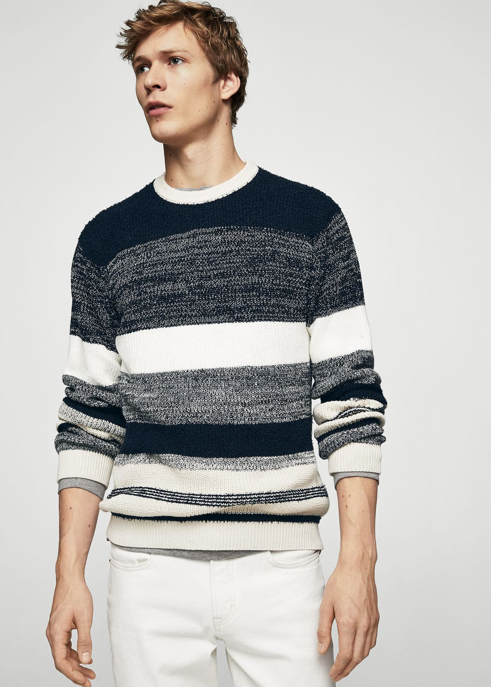 Textured striped cotton sweater | MANGO MAN