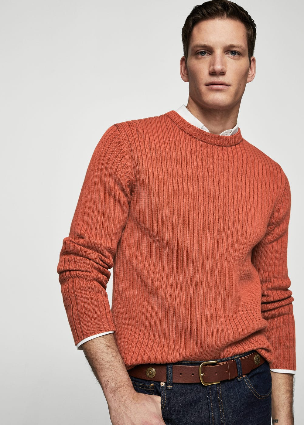 Ribbed wool-blend sweater | MANGO MAN