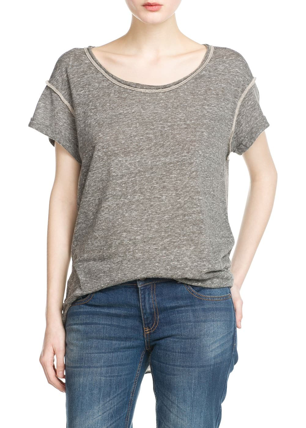 Decorative seams t-shirt | MANGO
