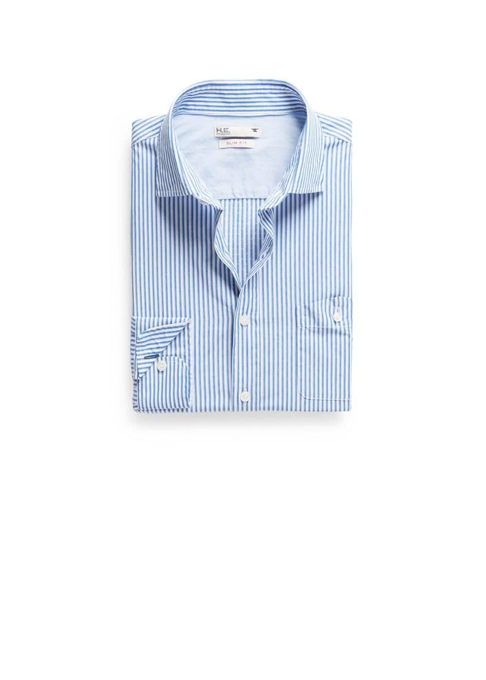 Slim-fit striped woven shirt | MANGO