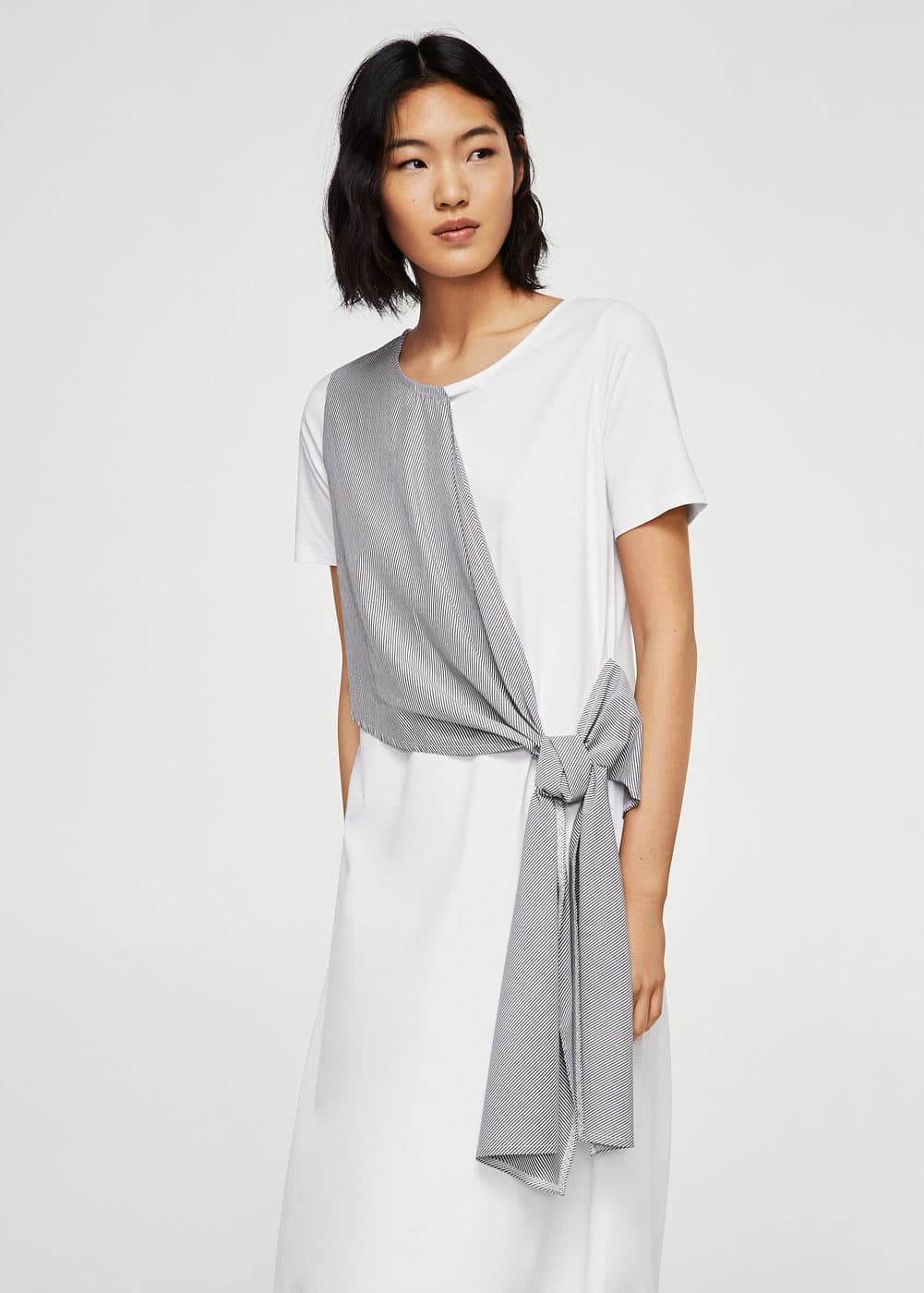 Knot detail contrast dress | MANGO