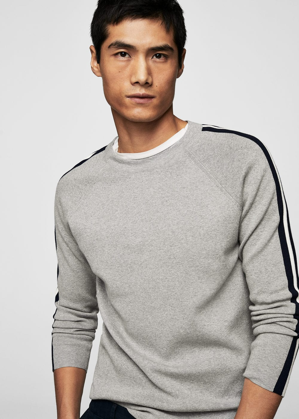 Contrast trim sweater | MANGO MAN