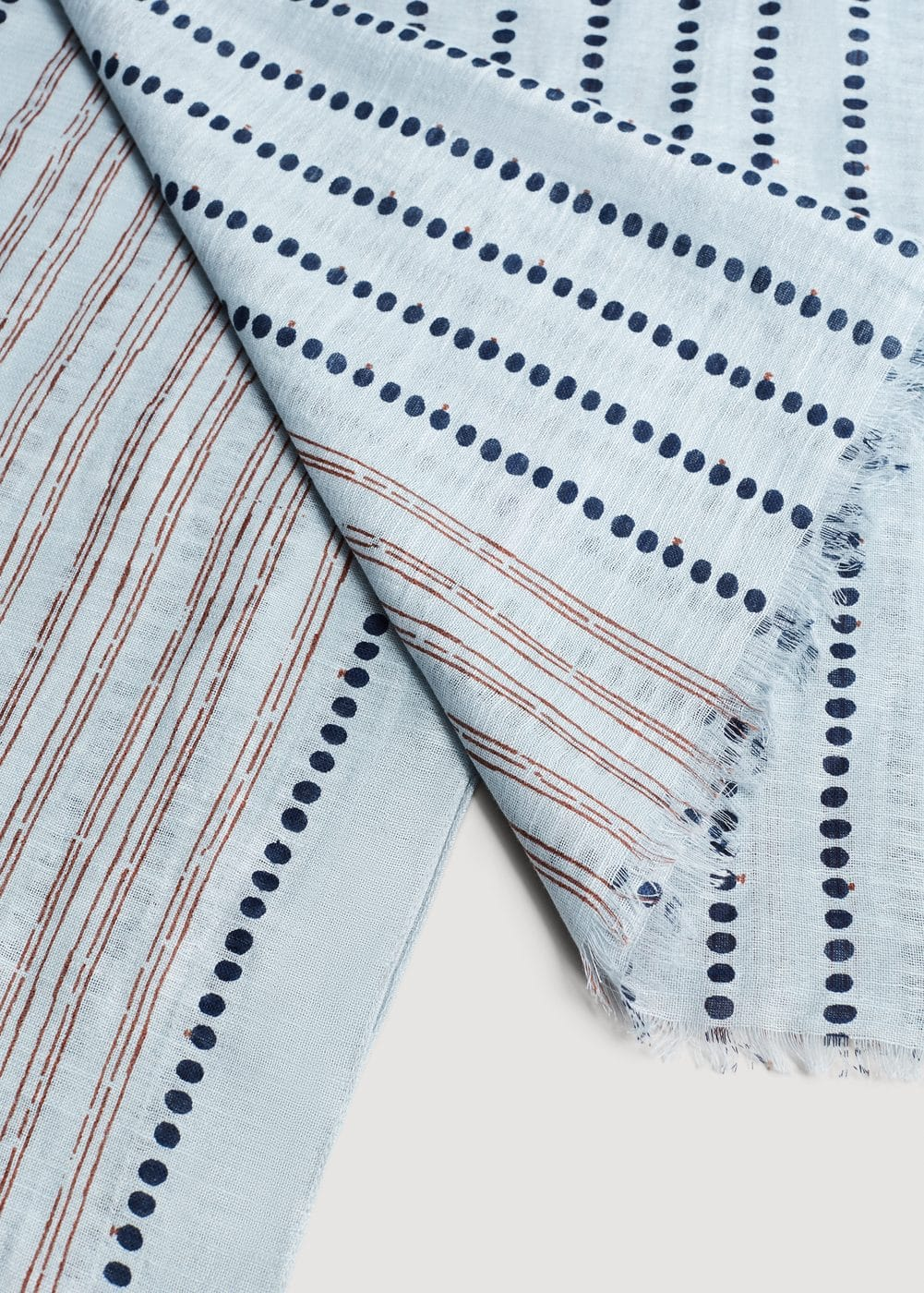 Printed cotton linen scarf | MANGO MAN