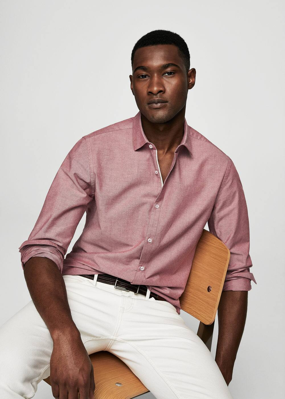 Regular-fit oxford cotton shirt | MANGO MAN