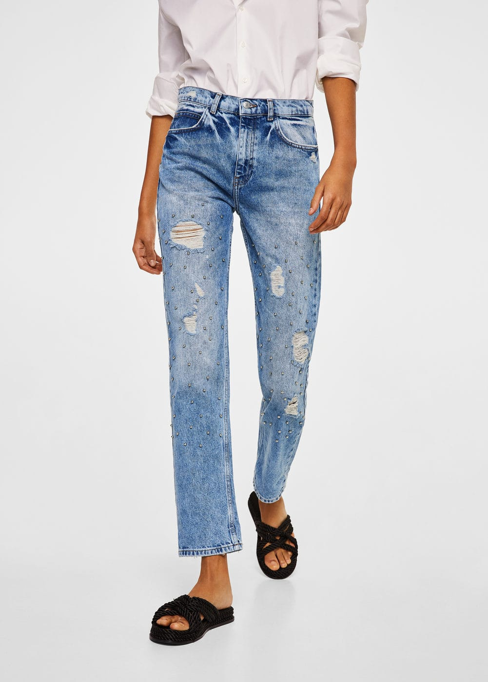 Pearl embroidery jeans | MANGO