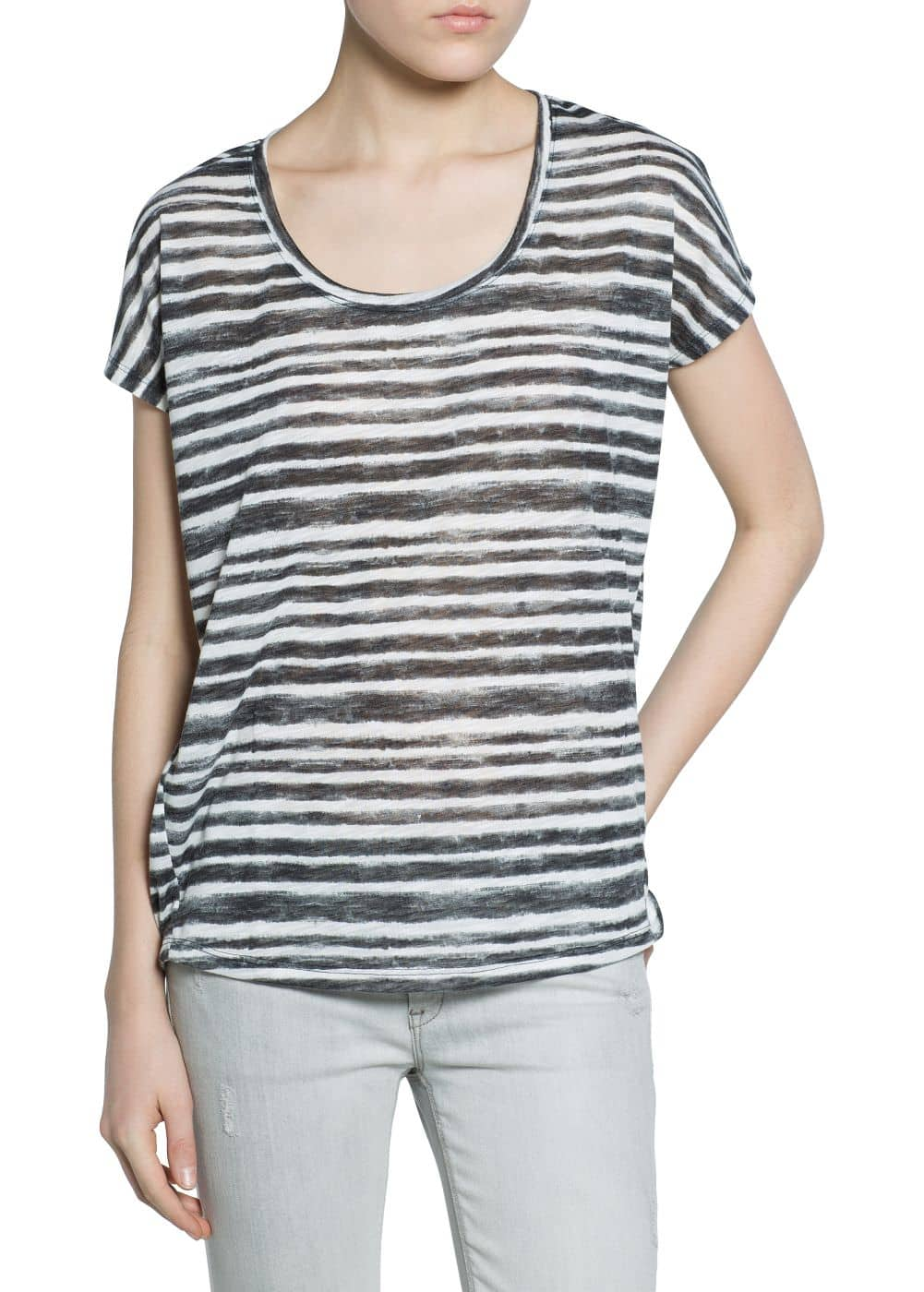Watercolor striped t-shirt | MANGO