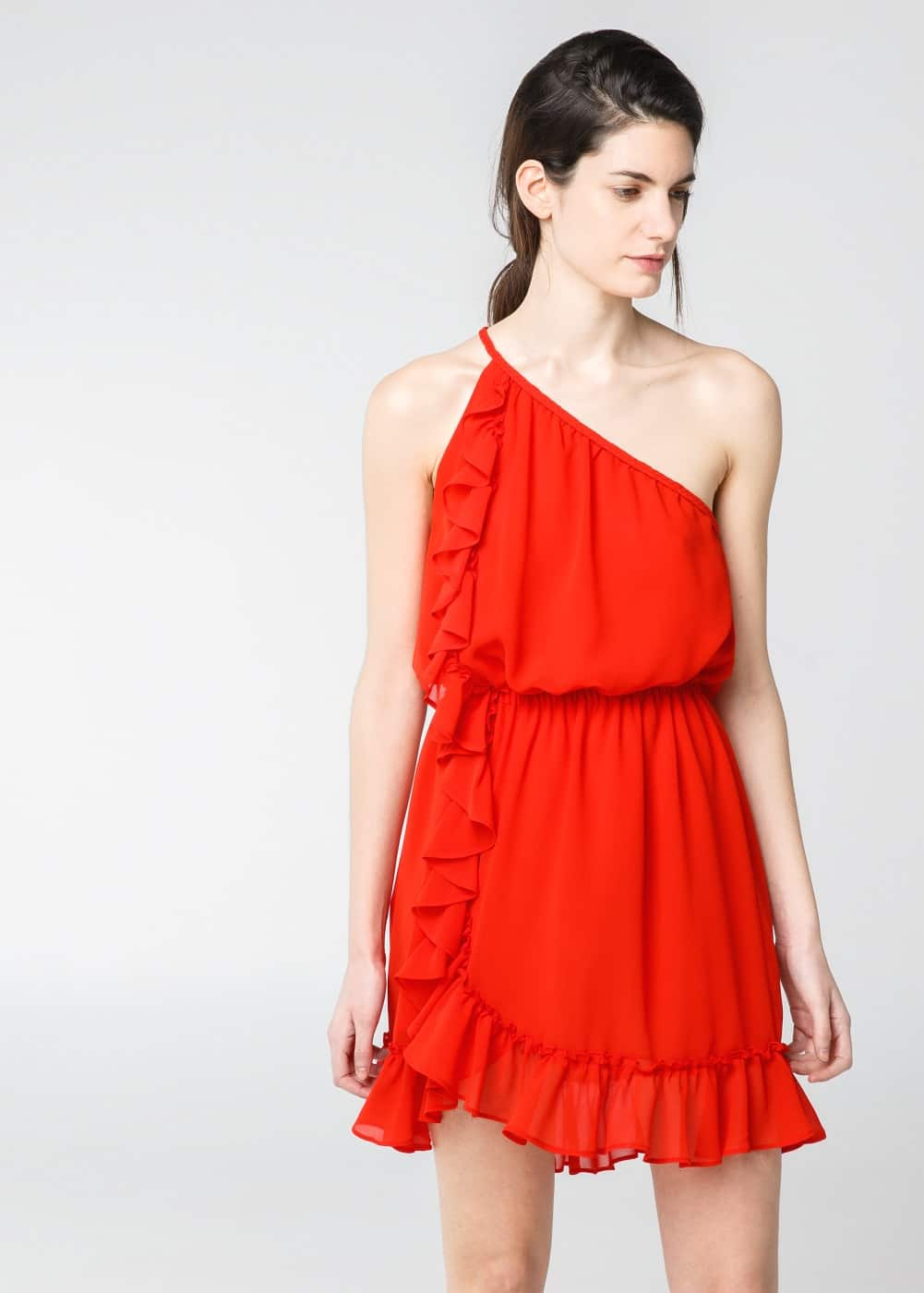 Asymmetric chiffon dress | MANGO