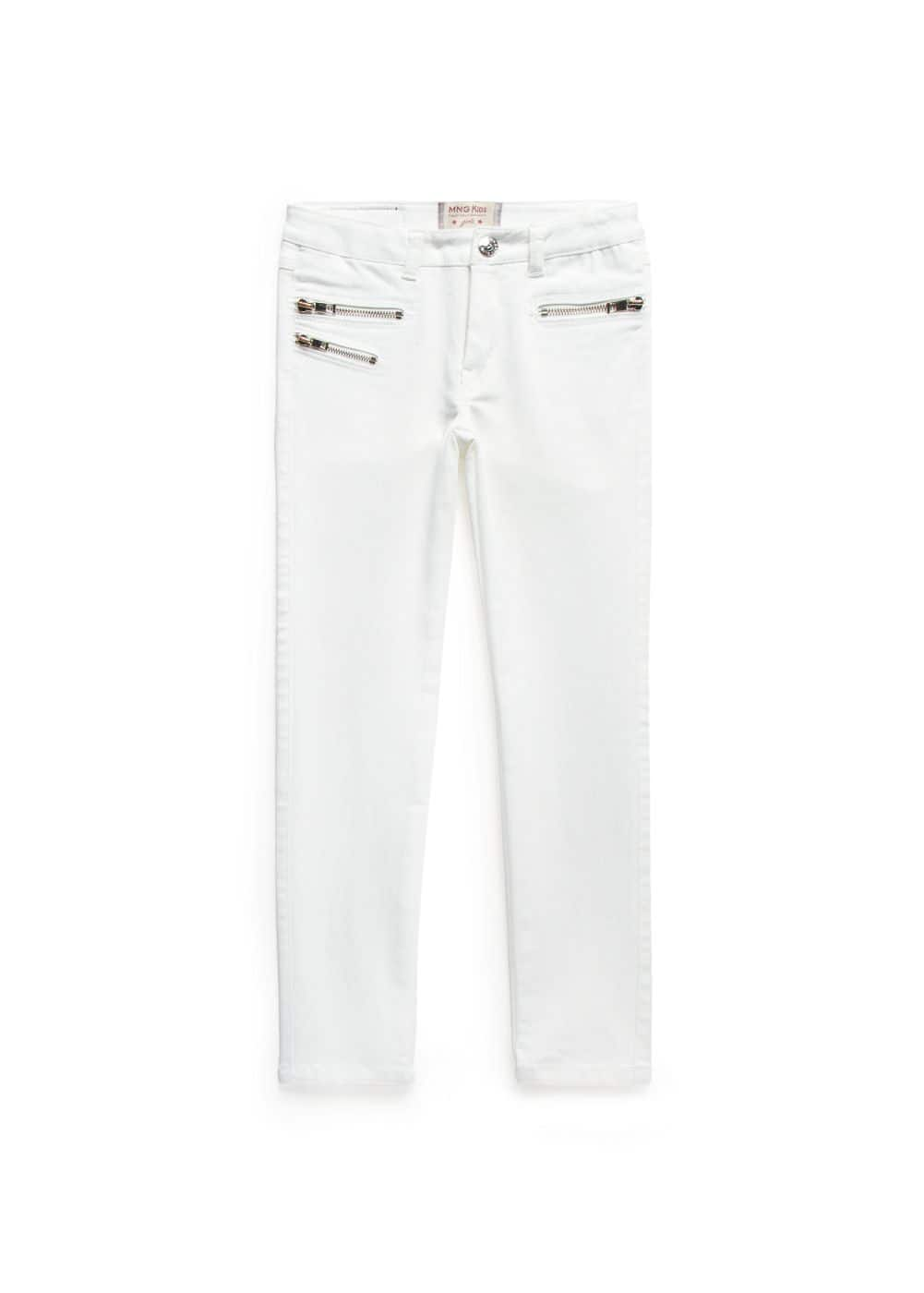 Zipped white jeans | MANGO KIDS
