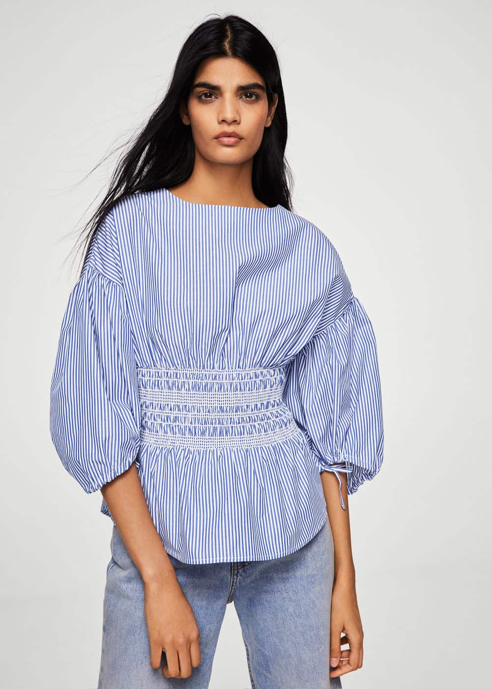 Ruched detail striped blouse | MNG