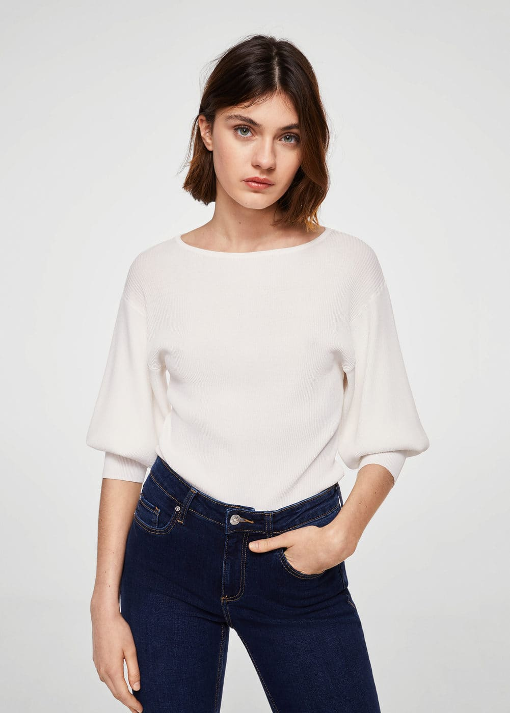 Puffed sleeves ribbed jumper | MANGO