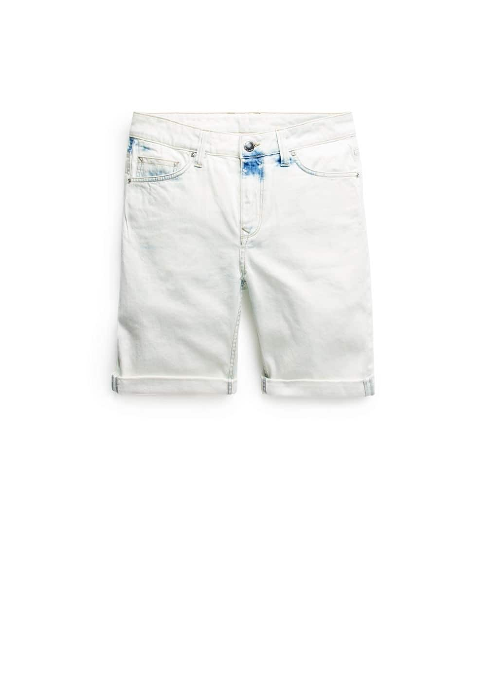 Bleach wash denim bermuda shorts | MANGO