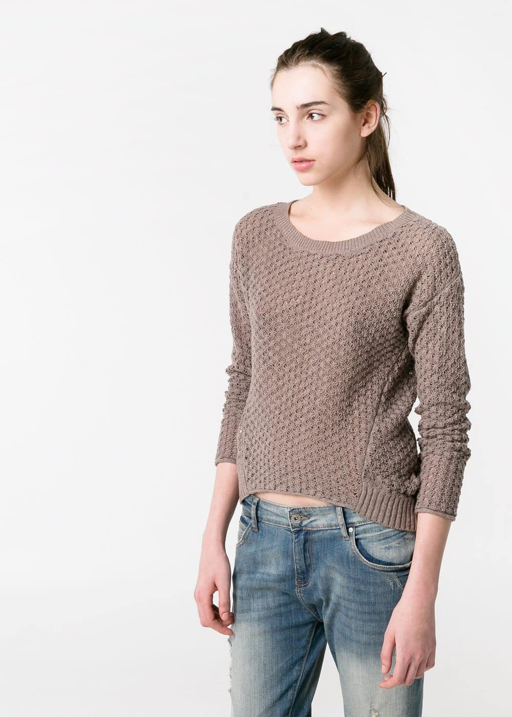 Asymmetric open-knit sweater | MANGO