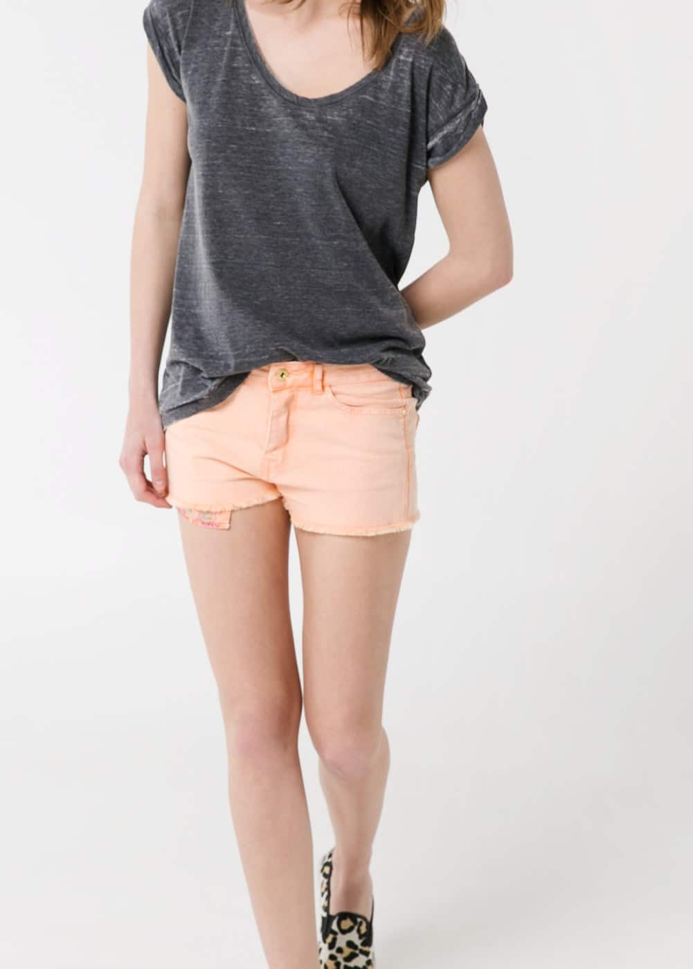 Orange denim shorts | MANGO
