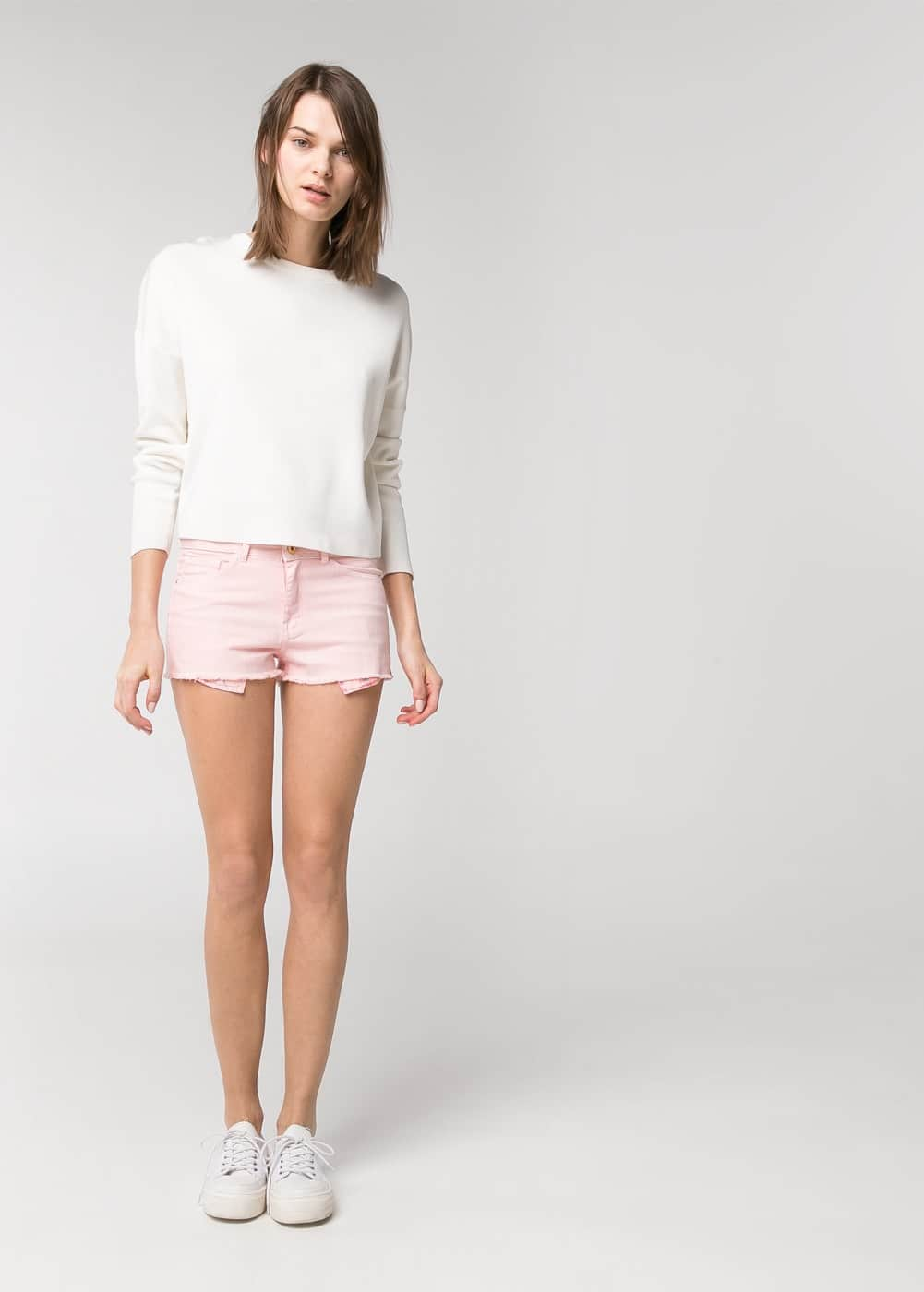 Pink denim shorts | MANGO