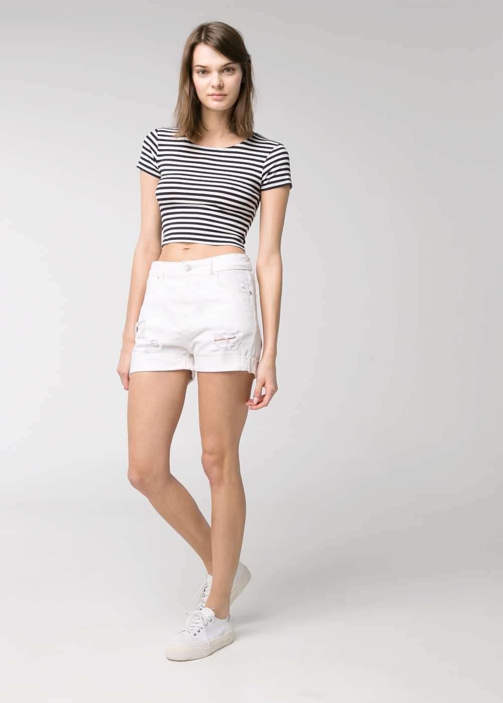 White denim shorts | MANGO