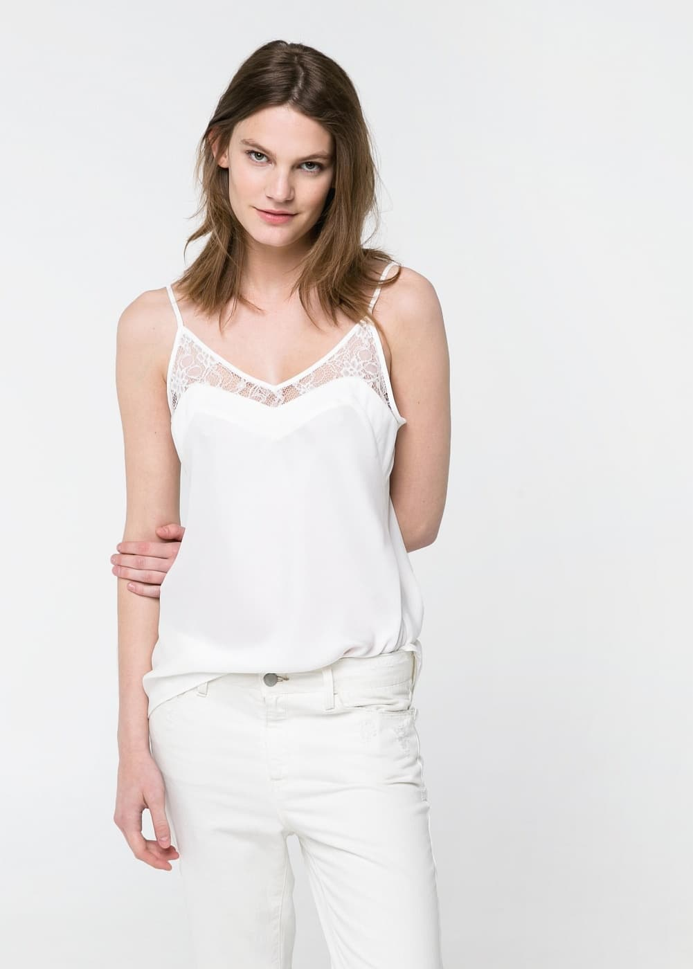 Lace detail top | MANGO