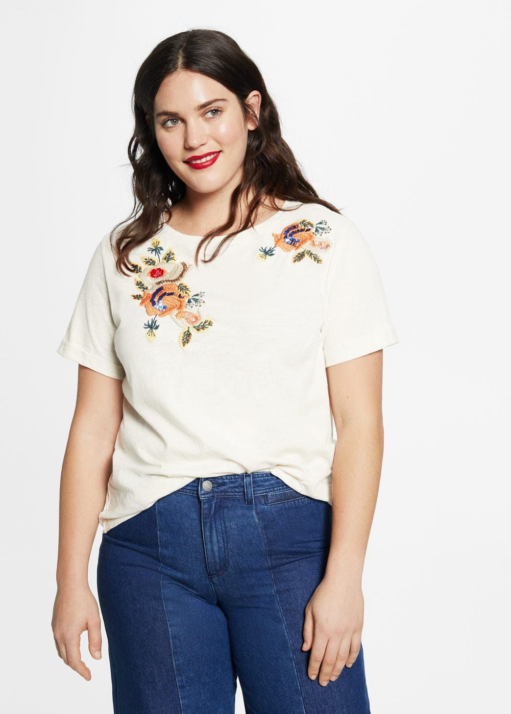 Embroidered cotton shirt | VIOLETA BY MNG