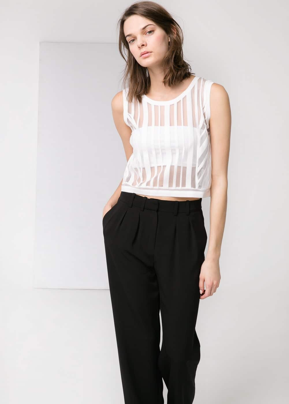 Mesh cropped top | MANGO