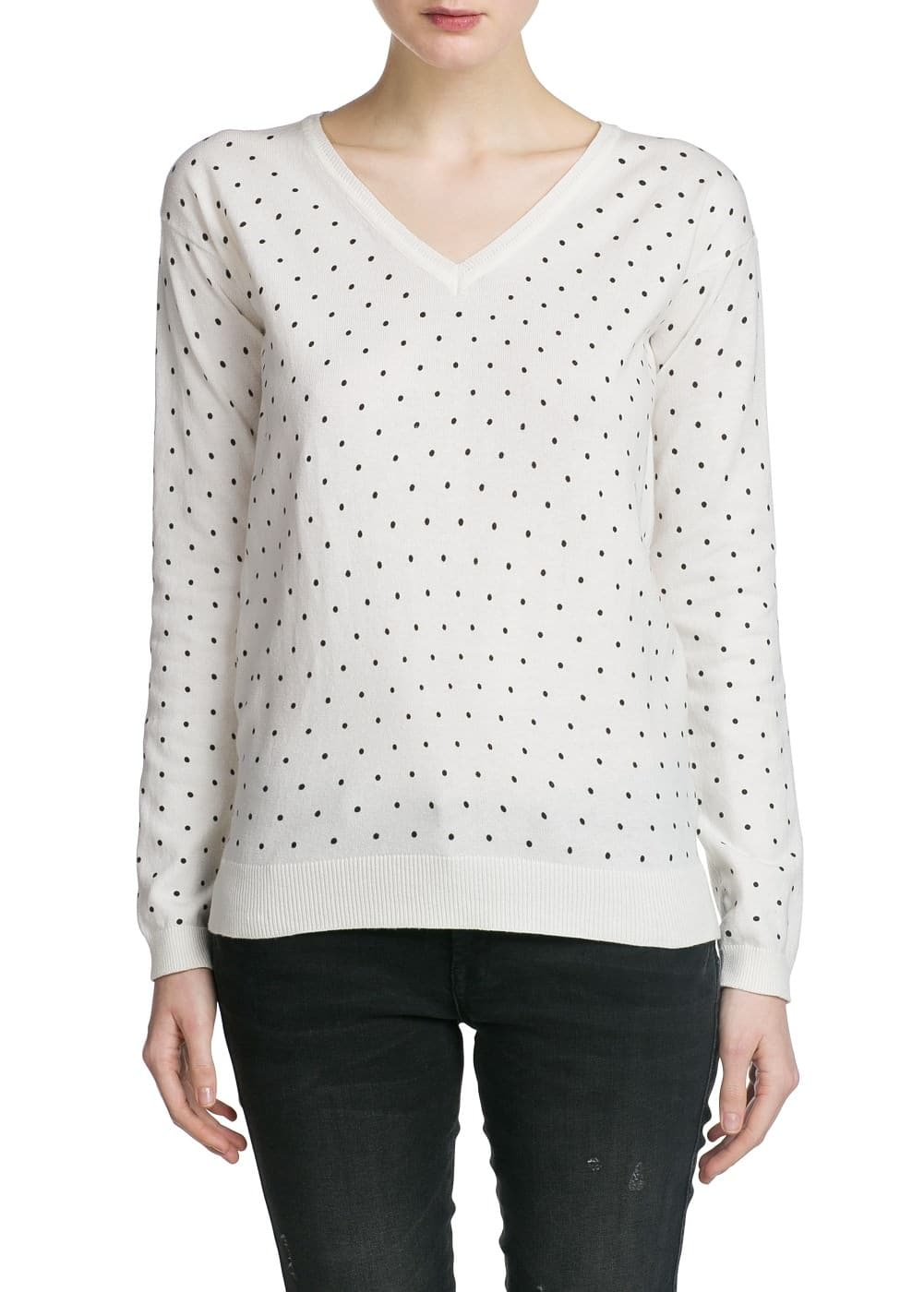 Polka-dot v-neck sweater | MANGO