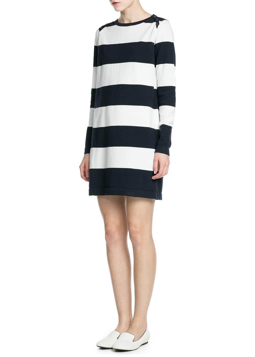 Straight-cut striped jersey dress | MANGO