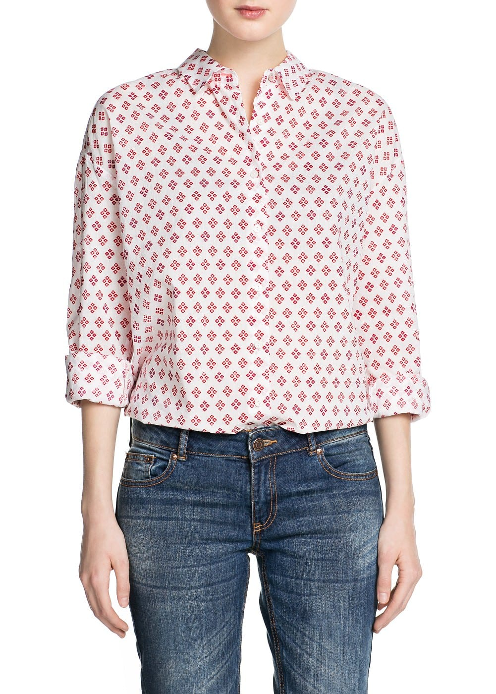 Tie print cotton shirt | MANGO
