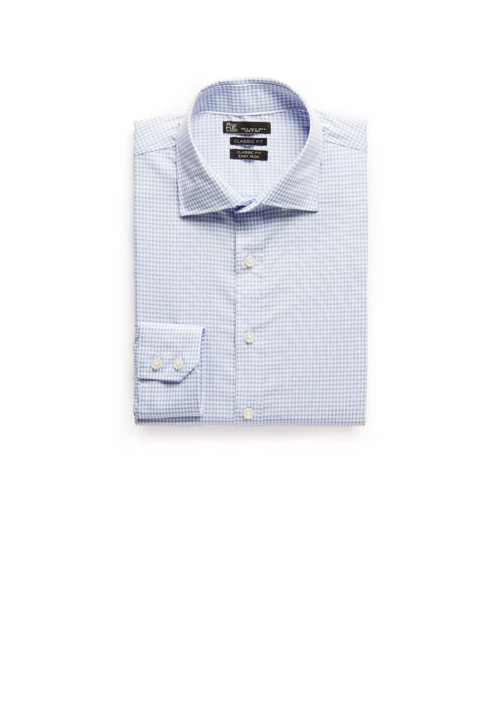 Classic-fit premium gingham check shirt | MANGO