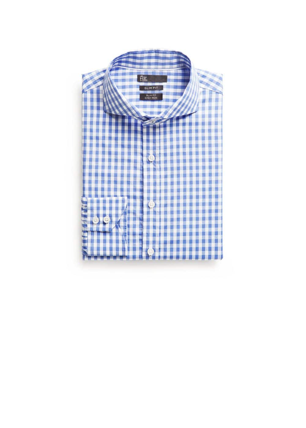 Slim-fit premium gingham check shirt | MANGO
