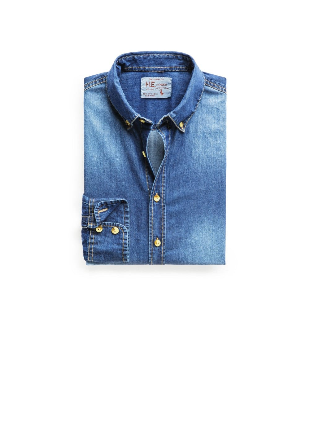 Slim-fit dark wash denim shirt | MANGO