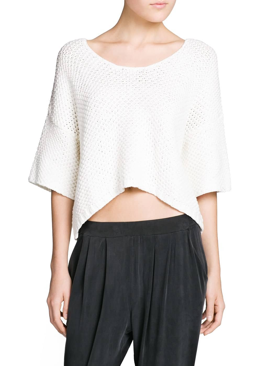 Cropped chunky-knit sweater | MANGO
