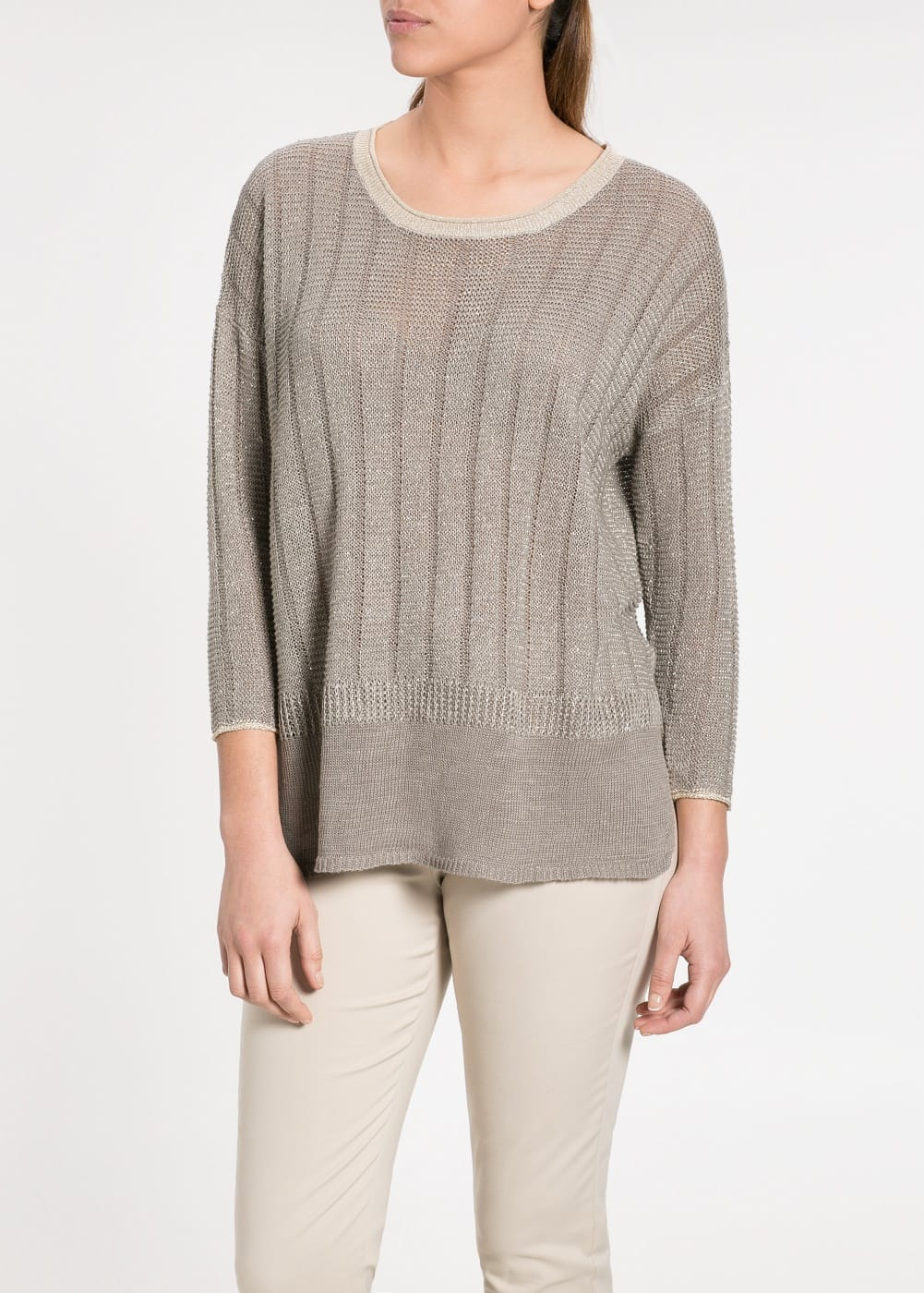 Metallic linen-blend sweater | MANGO