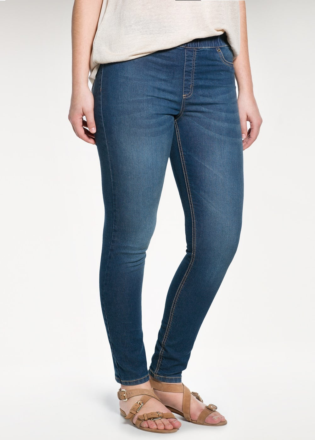 Dark wash jeggings | MANGO