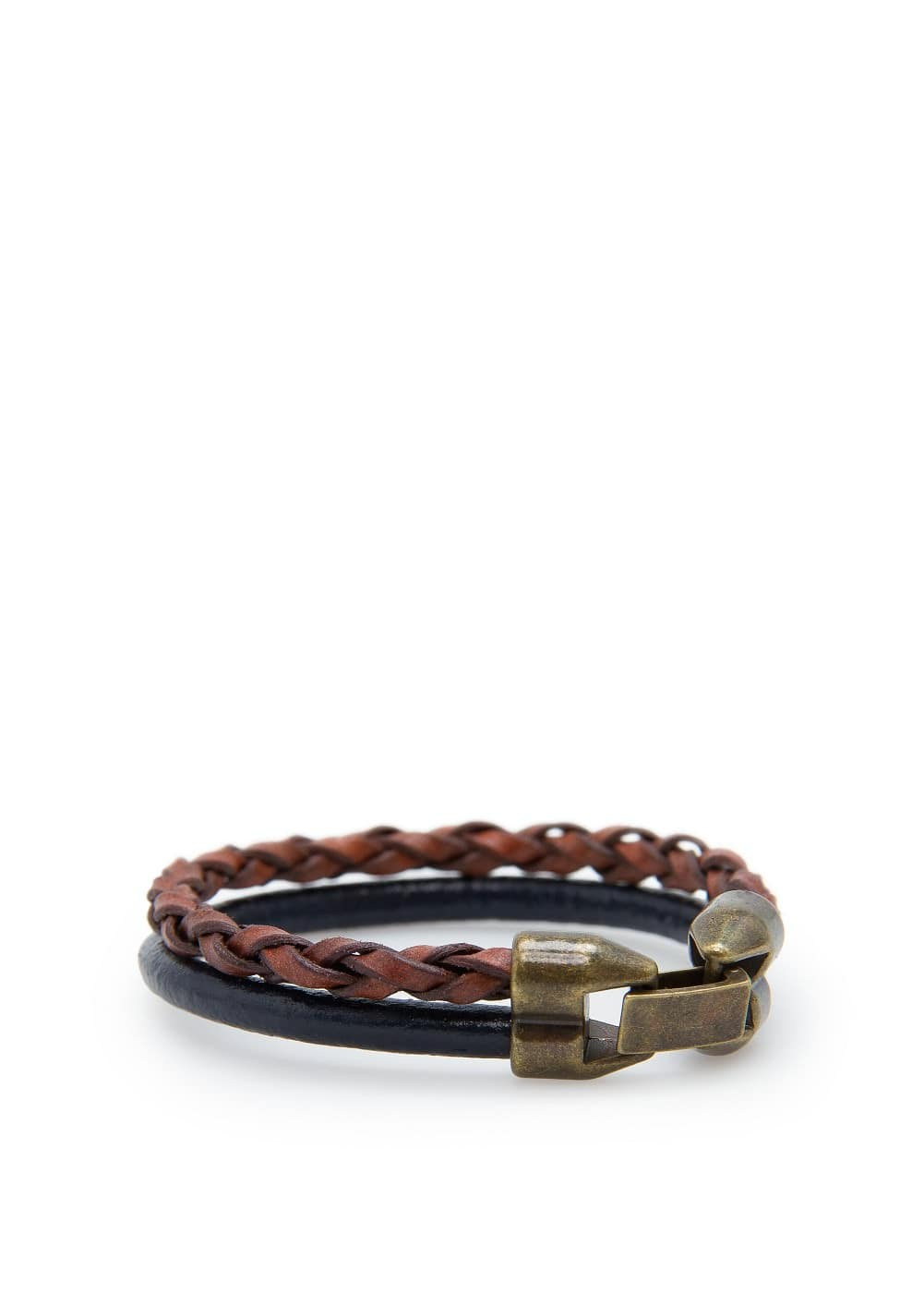 Leather double bracelet | MANGO MAN