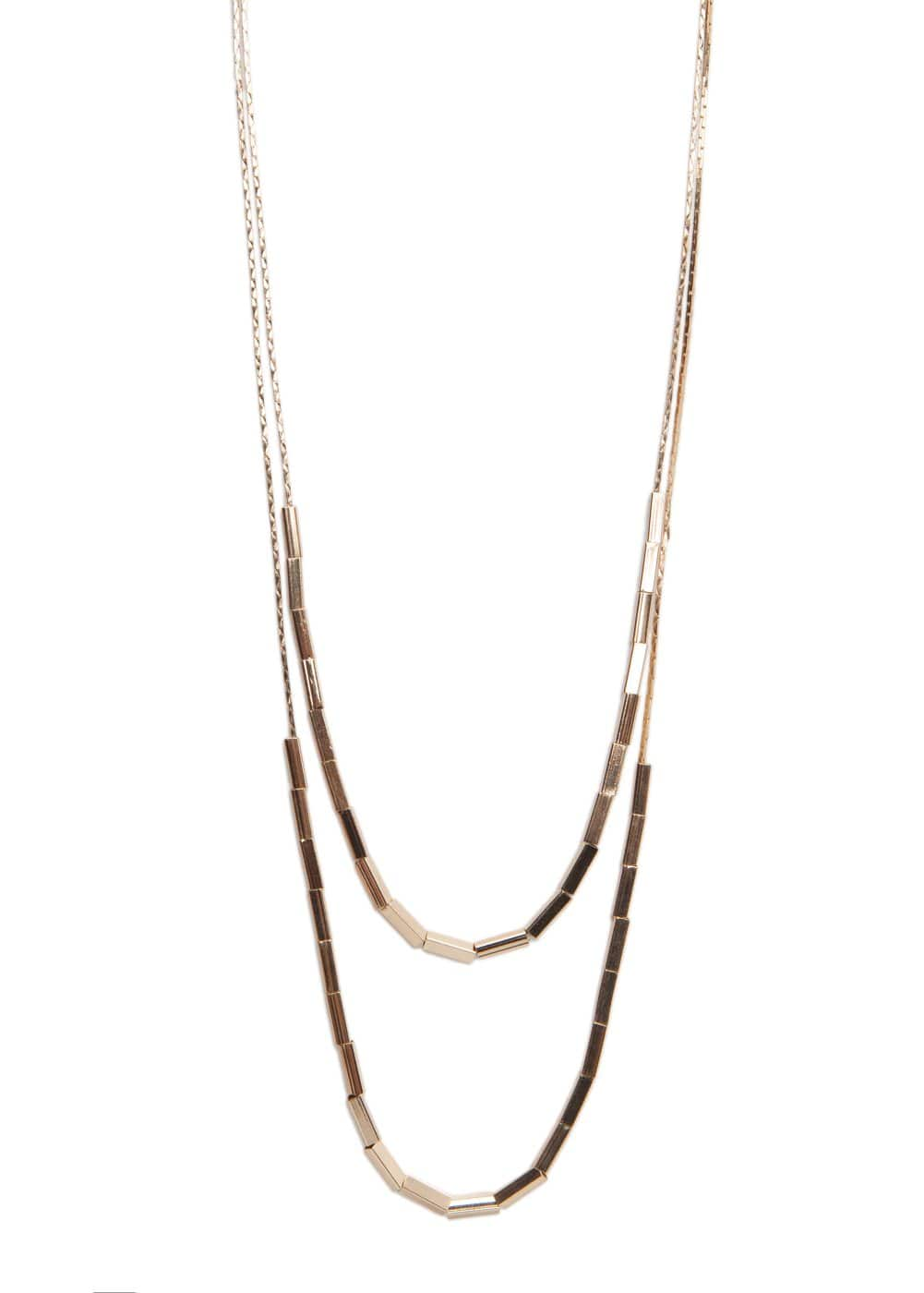 Beaded double chain necklace | MANGO