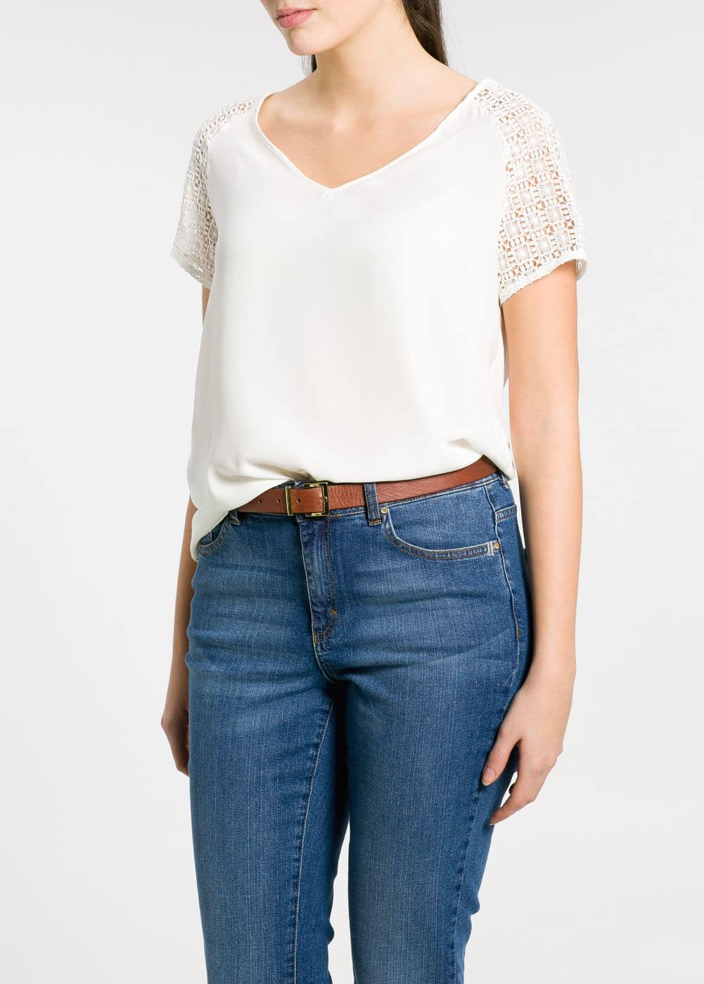 T-shirt manches crochet | MANGO