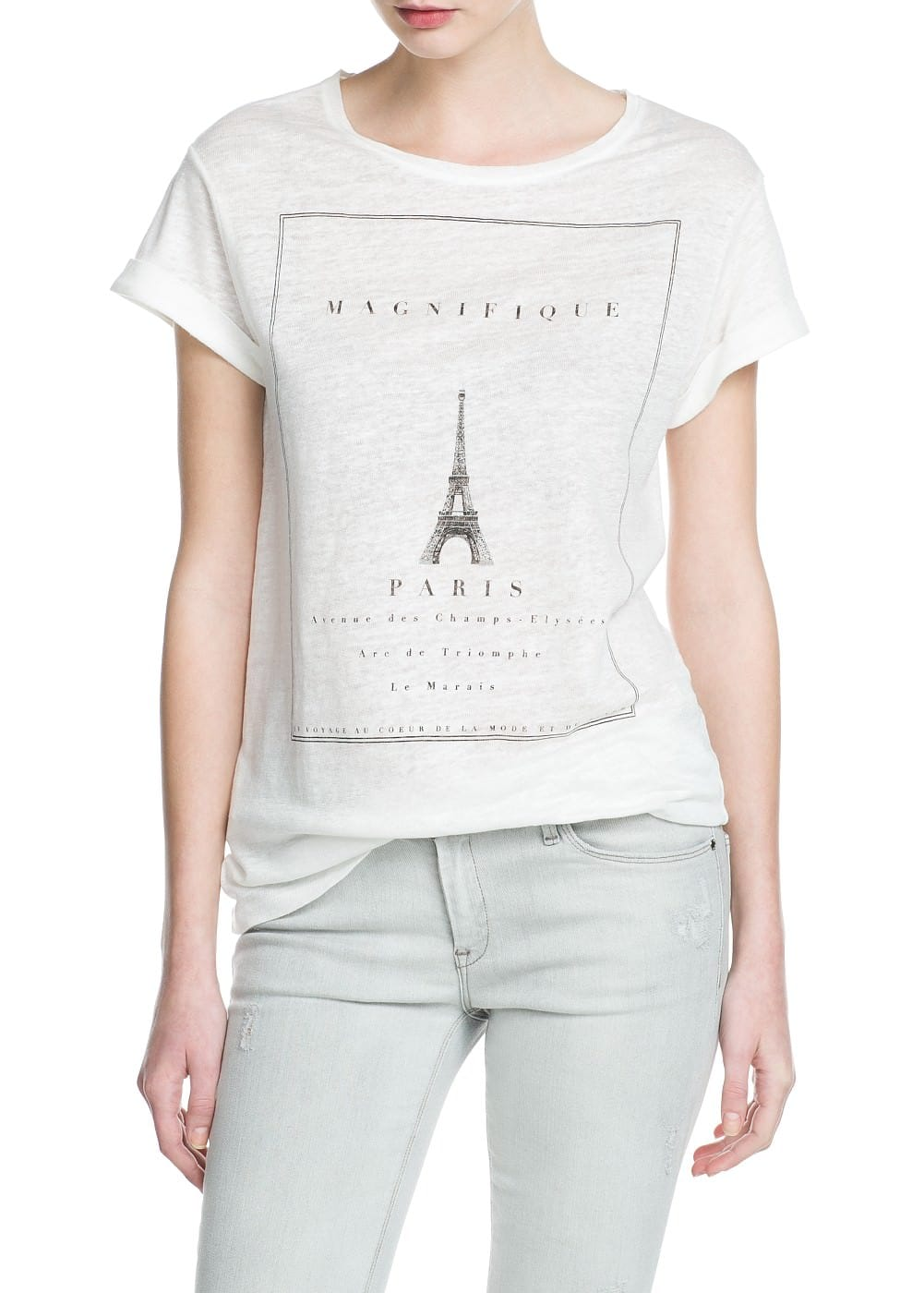 Paris linen t-shirt | MANGO