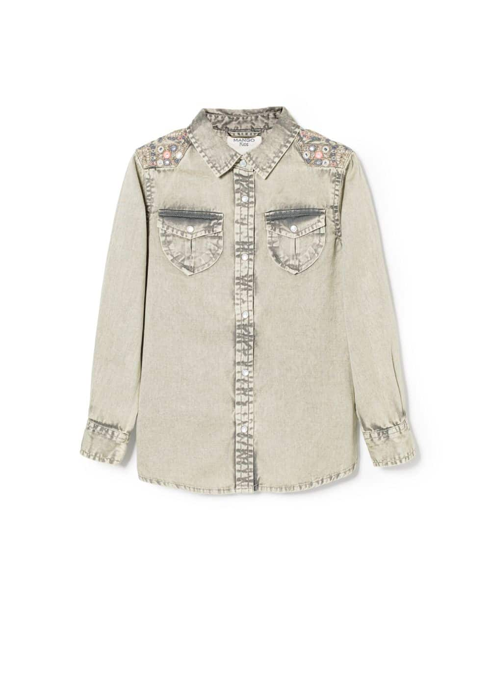 Embroidered denim shirt | MANGO